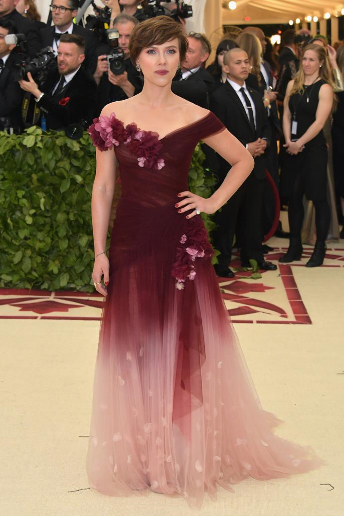 Scarlett Johansson wearing a Marchesa gown at the 2018 Met Gala.