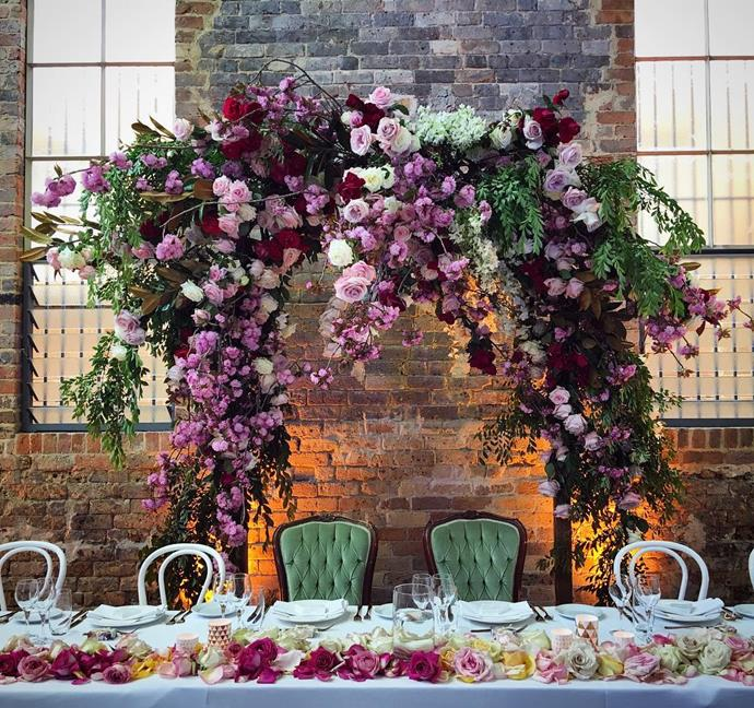 "<strong>Add colour </strong> <br><br> <em>""Deep rich berry tones have started to be included with white flowers to add some depth and colour to the mood of the room.""</em> <br><br> <strong>Tip:</strong> Be sure to have a florist or responsible relative/friend make sure the grooms party have all their buttonholes on evenly and straight. We always supply a few spares as they can sometimes get damaged after the ceremony and might need to be swapped over. <br><br> <a href=""https://www.instagram.com/p/BL237qrgc3A/"">@aleksandradiary"