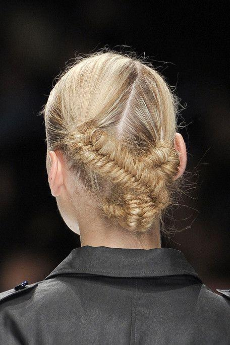 Plait-meets-bun in this fun fusion 'do.