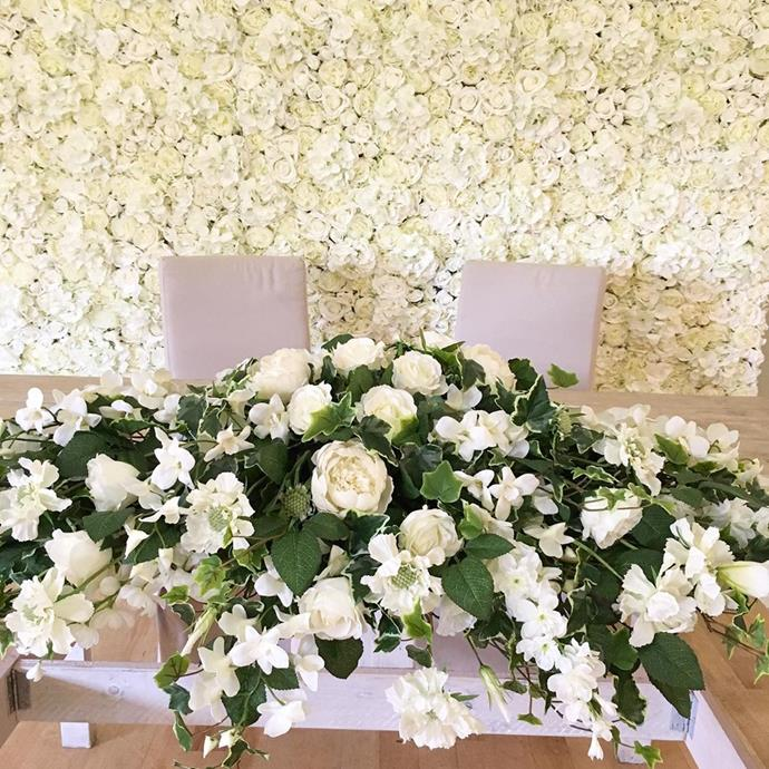 """<strong>Flower walls</strong> <br><br> <em>*Christian Dior's wall of flowers have set the world alight with the vertical walls of studded blooms. They make a wonderful backdrop anywhere for a glamorous photo opportunity at a wedding ceremony.*</em> <br><br> <strong>Tip:</strong> Try to have a meeting with your florist two weeks prior to your event so you can get a true sense of what is in season that close to your special day. It is also good to have a mock-up/pre-run of what your flowers will look like if you are nervous - this will come with a fee. <br><br> Pic: [@millingbarn](https://www.instagram.com/p/BzR_HsKh1xb/ target=""""_blank"""")"""