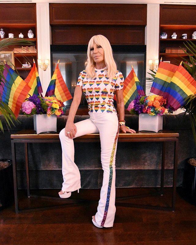 Donatella Versace in custom Versace.