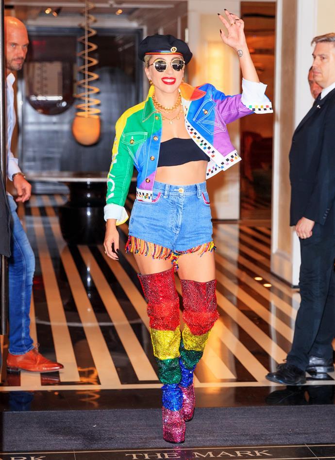 Lady Gaga in custom Versace.