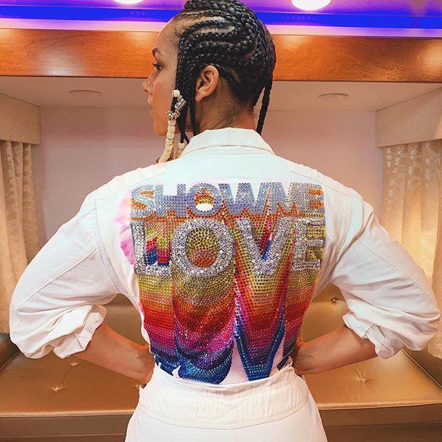 Alicia Keys in a custom Stella McCartney shirt.