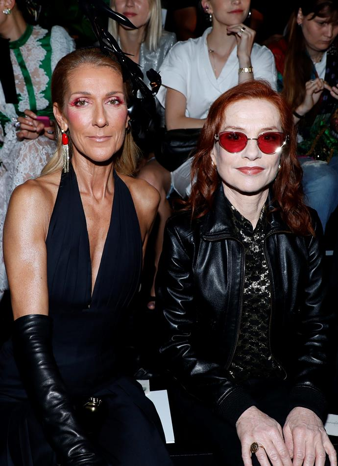 Céline Dion and Isabelle Huppert at Schiaparelli.