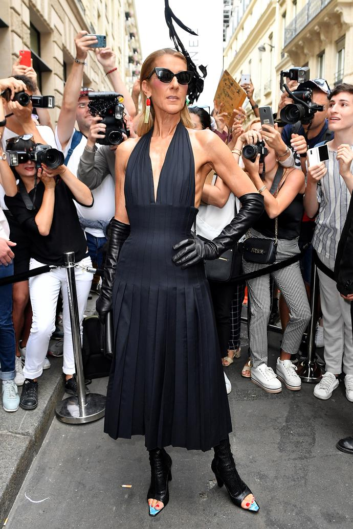 Céline Dion outside Schiaparelli.