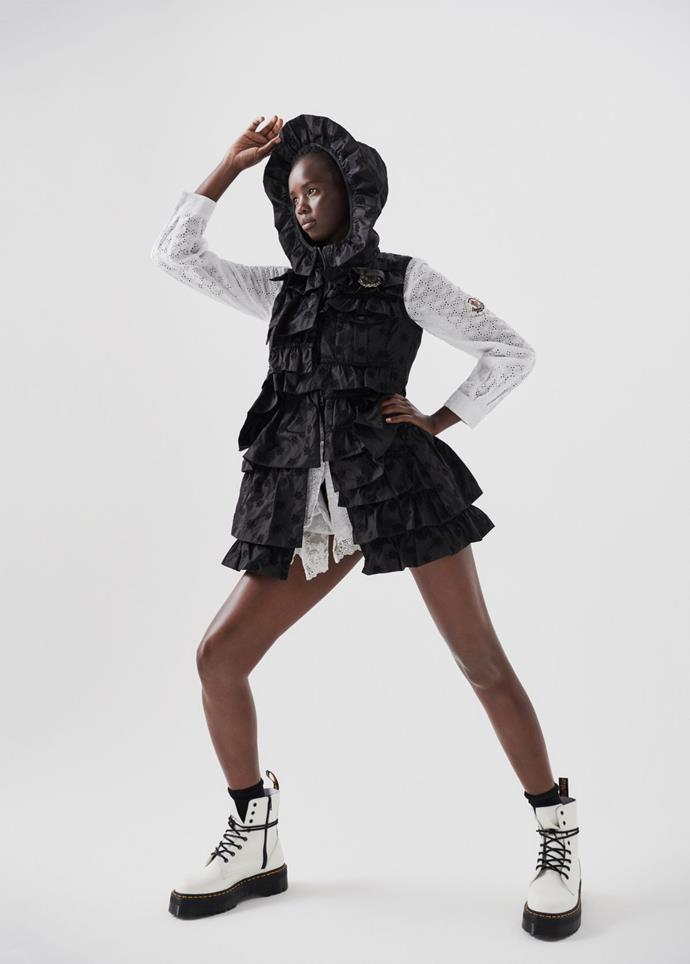 Moncler Simone Rocha gilet and dress, POA, stylist's own Dr. Marten's boots.