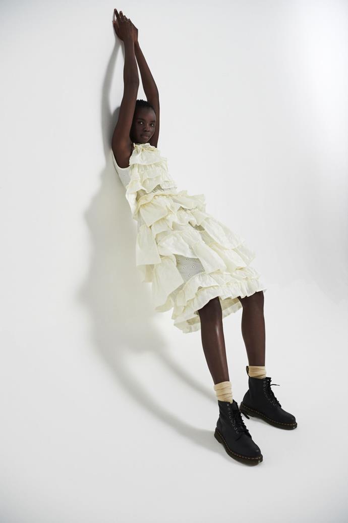 Moncler Simone Rocha dress, POA, stylist's own Dr. Martens boots.