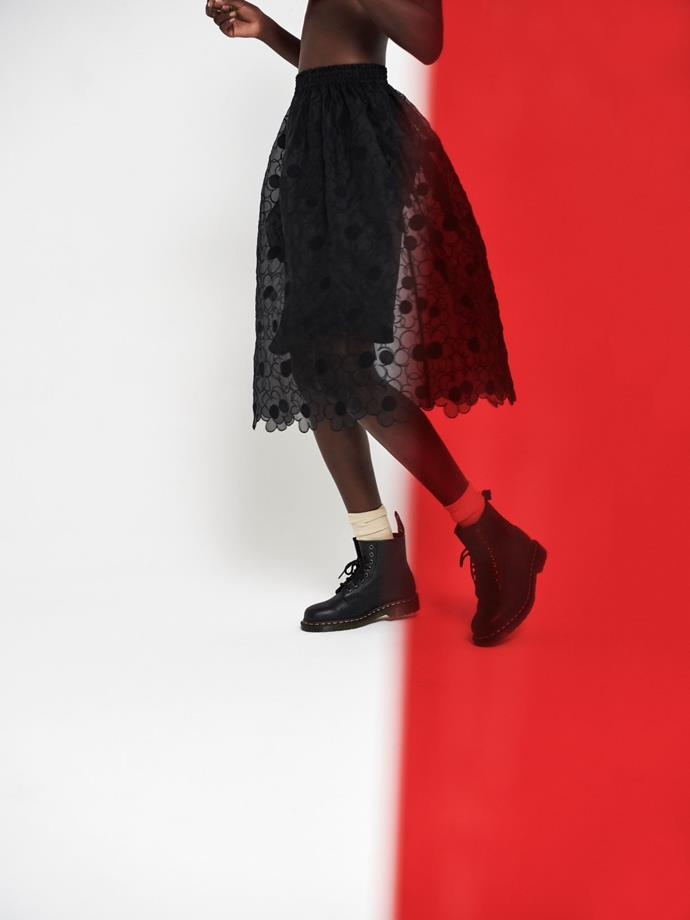 Moncler Simone Rocha skirt, $1445,  stylist's own Dr. Marten's boots.