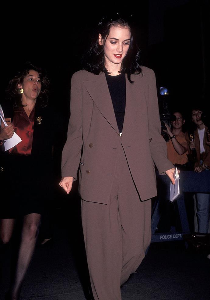 In a baggy blazer and trouser combo in 1991.