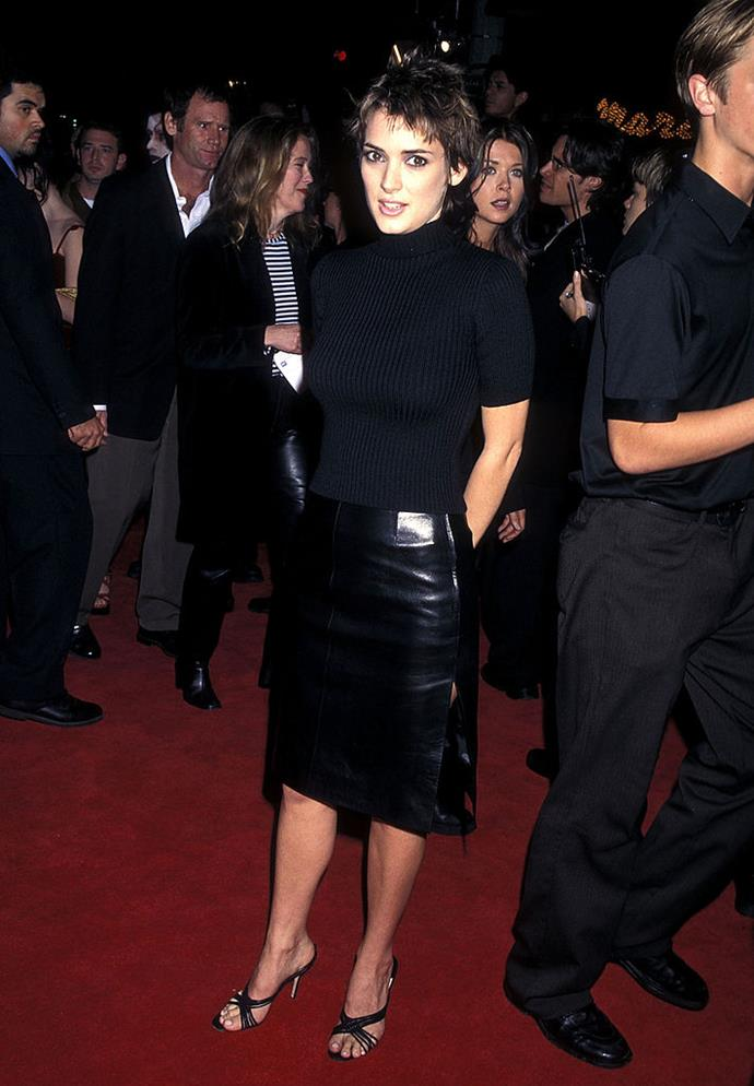 In a latex skirt and turtleneck in 1997.