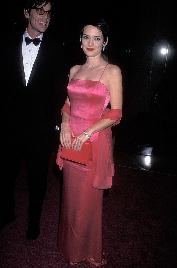 In a pink satin dress at an awards ceremony in 1997.