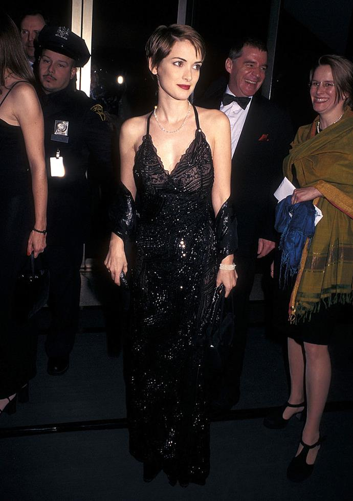In a beaded gown at the *Vanity Fair* Oscar Party in 1998.
