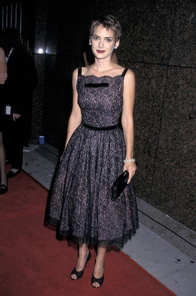 In a black mid-length tulle dress in 1997.