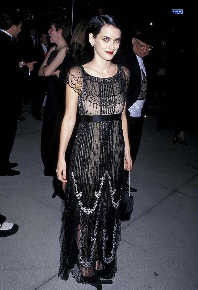 In a lace frilled dress at the 1997 Academy Awards.