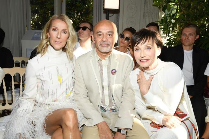 Céline Dion, Christian Louboutin, and Kristin Scott Thomas at Valentino.
