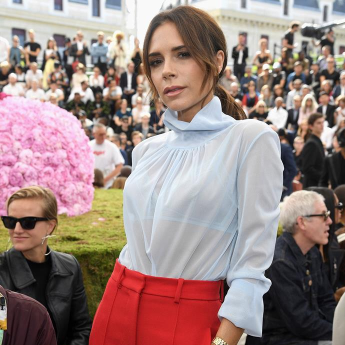 "**Victoria Beckham** <br><br> Beckham has been in the public eye since 1996, and addressed breast augmentation rumours in a letter she wrote to her younger self for British *Vogue* in 2017. She wrote: ""I should probably say [to my younger self], don't mess with your boobs. All those years I denied it—stupid. A sign of insecurity. Just celebrate what you've got."" <br><br> *Image: Getty*"