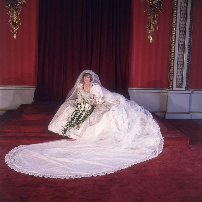 "**Princess Diana** <br><br> While her daughters-in-law, Kate Middleton and [Meghan Markle](https://www.harpersbazaar.com.au/celebrity/meghan-markle-wedding-dress-design-17560|target=""_blank""), picked simpler gowns for their royal weddings, Princess Diana's was much more over-the-top. <br><br> Designed by David Emanuel, her gown had a seven-metre-long train, and featured statement puffy sleeves, bringing a new definition to the term 'princess gown'. It was later revealed that Diana spilled a bottle of perfume on the dress only minutes before walking down the aisle, but managed to carefully conceal it. <br><br> *Image: Getty*"