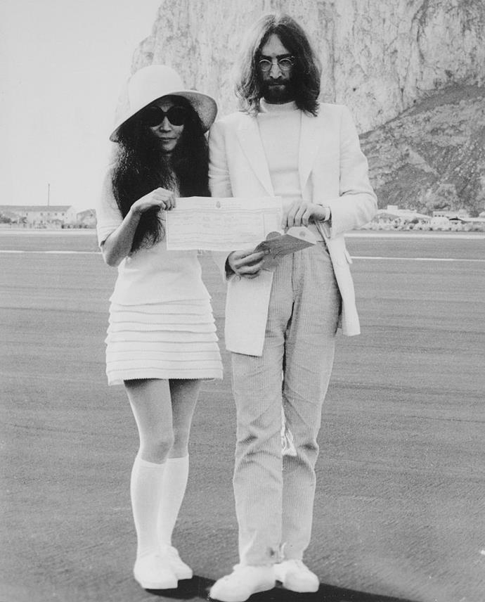 **Yoko Ono** <br><br> Ono's mini-dress for her 1969 wedding to John Lennon is about as '60s as it gets. For the ceremony in Gibraltar, Ono wore long socks and a floppy hat, and hid her eyes behind her trademark black sunglasses, before boarding a jet with her husband. <br><br> *Image: Getty*