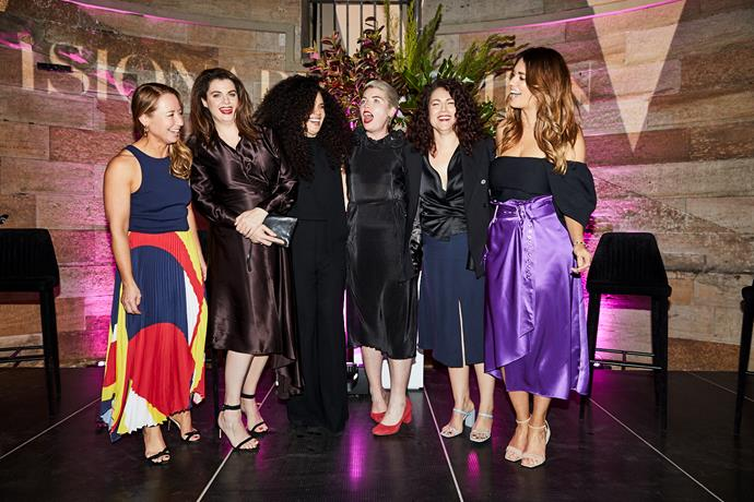 (Left to right) Editor-in-chief Eugenie Kelly and panellists Louise Milligan, Angela Tiatia, Clementine Ford, Dr. Rebecca Huntley and Laura Wells.