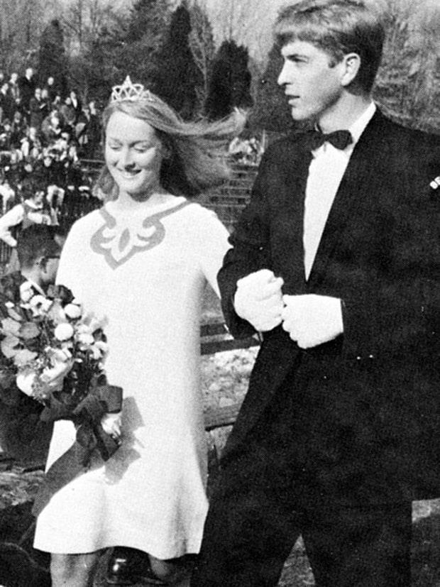 **Meryl Streep** <br><br> Streep was crowned Homecoming Queen at her prom in the '60s (as she should have been), and wore a demure patterned dress for the occasion. <br><br> *Image: Pinterest*