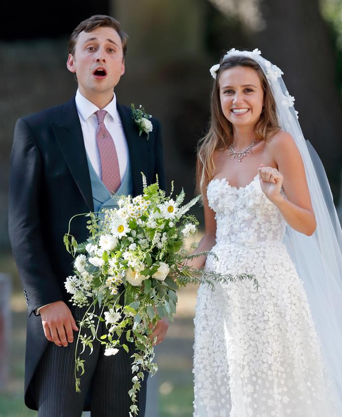 Charlie van Straubenzee and Daisy Jenks on their wedding day in August 2018.