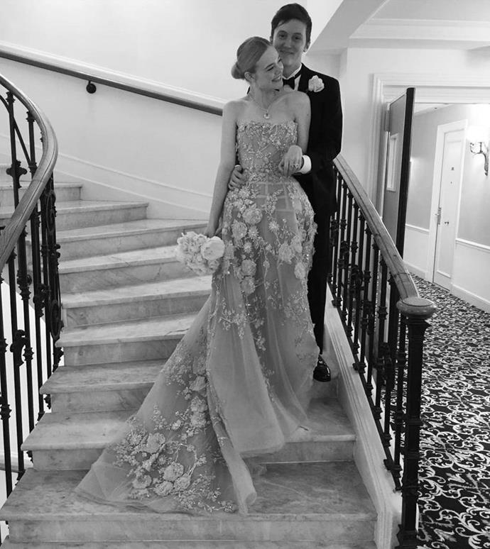 """**Elle Fanning** <br><br> Due to promotional requirements, Fanning wasn't able to attend her own prom in 2016. However, she flew out her own prom date from LA to Cannes, where she celebrated the occasion in a heavenly Zuhair Murad couture dress. <br><br> The *Maleficent* actress wrote in an [Instagram](https://www.instagram.com/ellefanning/