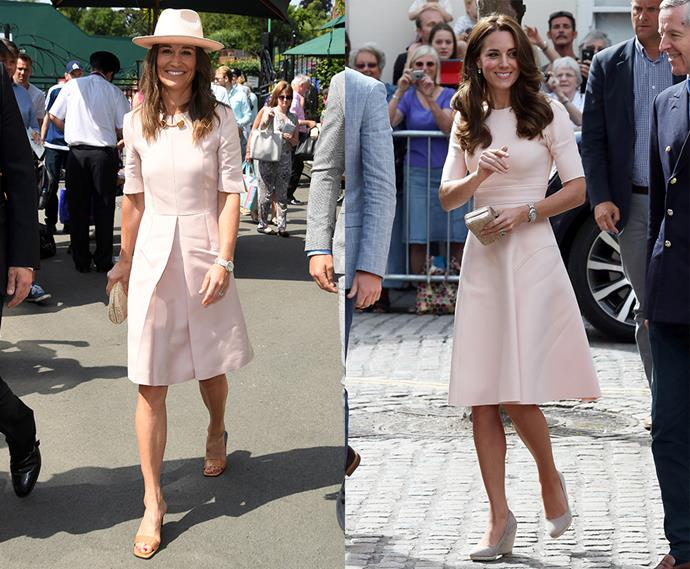 Blush pink dresses with elbow length sleeves twins.