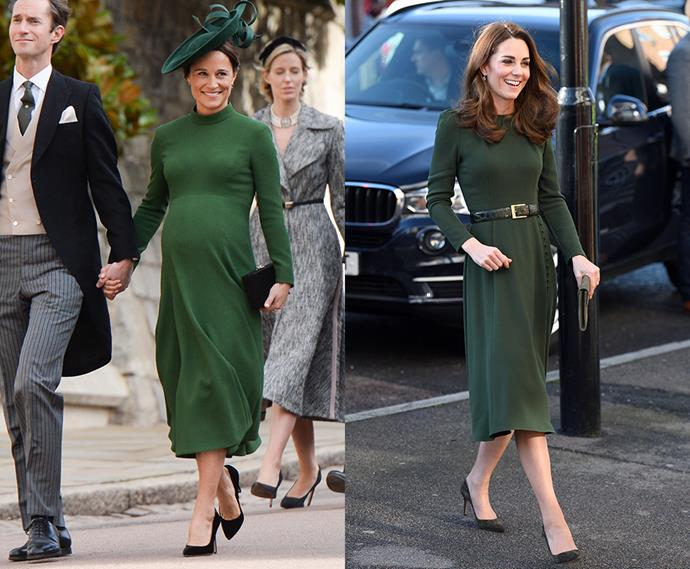 Deep green fitted midi dress with long sleeves twins.