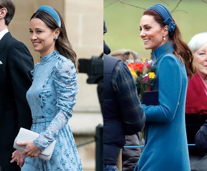 Blue headband twins.