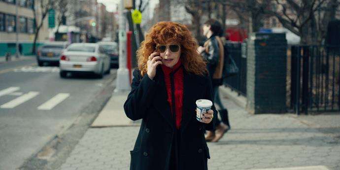 ***Russian Doll*** <br><br> For fans of: *The Good Place*, *Black Mirror* and *Dead To Me*.  <br><br> Like an edgier *Groundhog Day* for the modern era, *Russian Doll* sees a woman named Nadia stuck re-living the same fateful night over and over again, each time meeting a gruesome and unexpected end. As she tries to decipher what it all means, she discovers she may not be the only one experiencing this bizarre phenomenon, and there's a deeper meaning behind all the repetition.