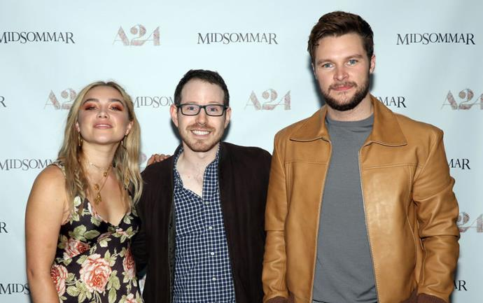 Florence Pugh and Jack Reynor (right), with *Midsommar* director Ari Aster (centre).