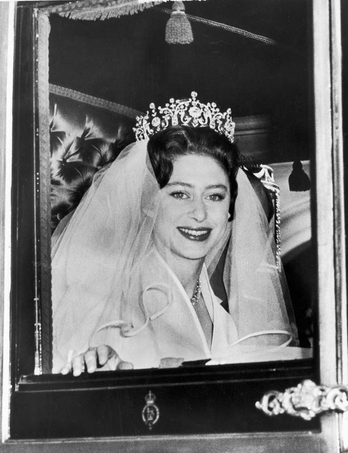 **The tiara:** The Poltimore Tiara.<br><br> **The wearer:** Princess Margaret, Countess of Snowdon.<br><br> **The history:** Choosing not to wear any of the tiaras owned by her older sister, Queen Elizabeth, Princess Margaret actually chose to take out a loan on the colossal Poltimore Tiara to wear on her wedding day in 1960.
