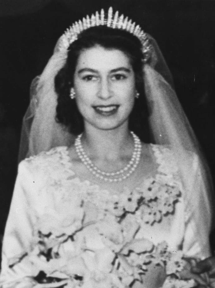Queen Elizabeth wearing Queen Mary's Fringe Tiara at her wedding in 1947.