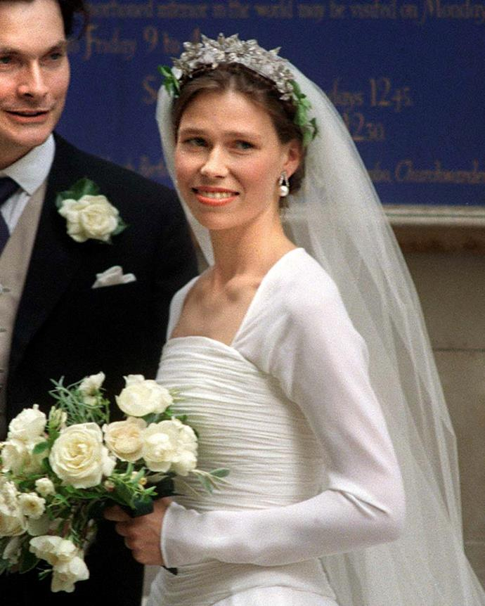 **The name:** The Snowdon Floral Tiara.<br><br> **The wearer:** Lady Sarah Chatto. <br><br> **The history:** When Jasper Conran was designing Lady Sarah's gown in 1994, rumour has it that he saw three separate diamond floral brooches, and made the suggestion that they be strung together as a tiara. The bride then enlisted the help of jeweller Wartski who created a frame for the brooches, adding fresh leaves either side on the day. Nowadays, the brooches are worn as separates and not as a tiara.