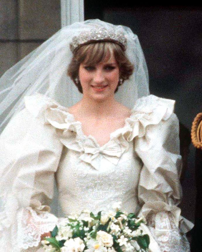 **The tiara:** The Spencer Tiara. <br><br> **The wearer:** Diana, Princess of Wales.<br><br> **The history:** Although most of the tiaras on this list are owned by the British Royal Family, the tiara worn by Lady Diana Spencer to marry Prince Charles in 1981 was actually owned by the bride's family. This whimsical tiara features shooting stars, hearts, diamond cascades and scrolls.