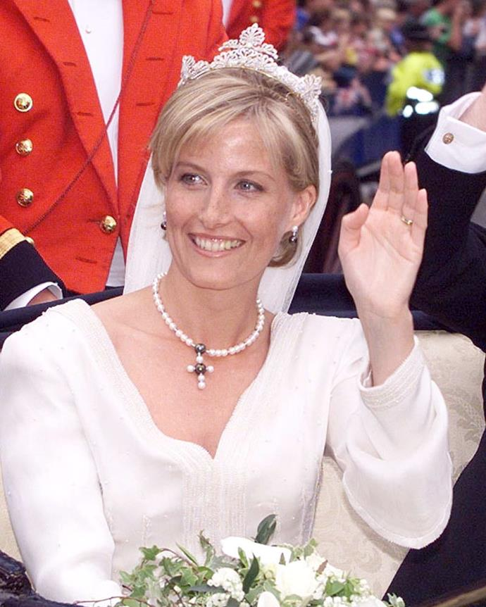 **The tiara:** Sophie, Countess of Wessex's, wedding tiara.<br><br> **The wearer:** Sophie, Countess of Wessex.<br><br> **The history:** For her wedding to Prince Edward, Sophie Rhys-Jonas wasn't loaned a tiara to wear, but given a new one made out of pre-existing diamond pieces.