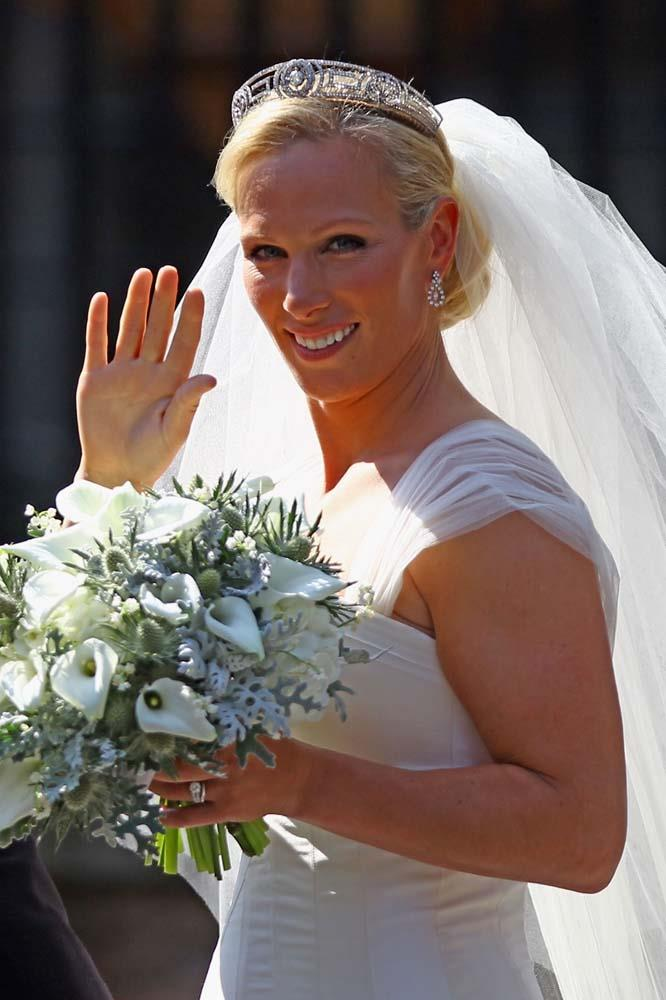 **The tiara:** The Meander Tiara.<br><br> **The wearer:** Zara Tindall.<br><br> **The history:** Originally owned by Princess Andrew of Greece, this geometric tiara is currently owned and worn by Princess Anne. However, when her daughter, Zara Phillips, married footballer Mike Tindall in 2011, she lent her this piece to get started.