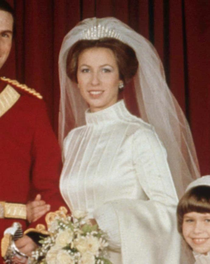 Princess Anne wearing the Queen Mary's Fringe Tiara.