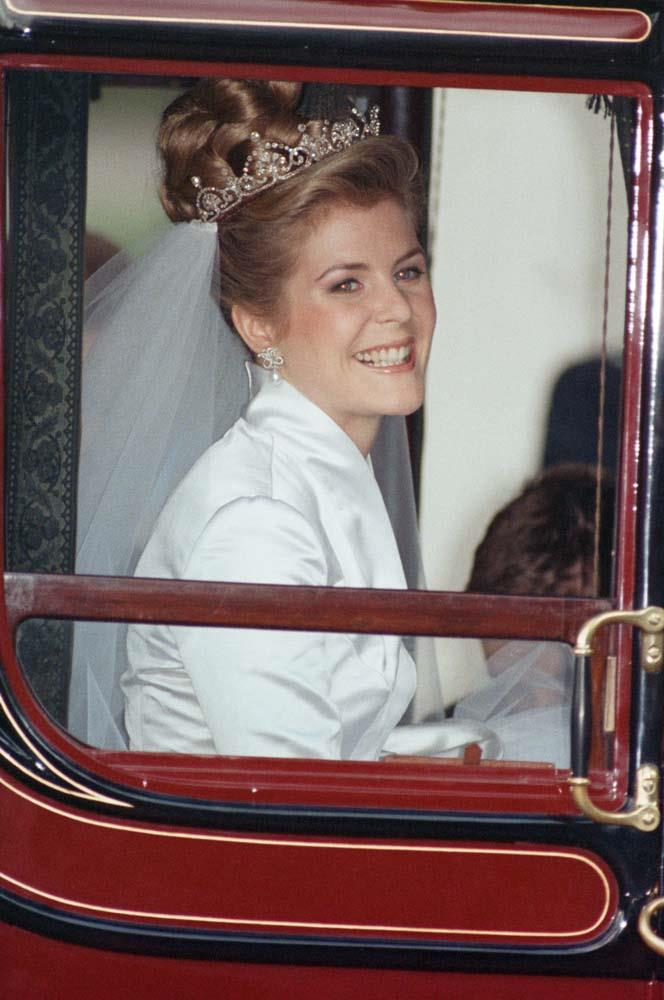 **The tiara:** The Lotus Flower Tiara.<br><br> **The wearer:** Serena Armstrong-Jones, Countess of Snowdon.<br><br> **The history:** This tiara, which incorporates 'lotus' motifs, was made from a necklace given to the Queen Mother. Serena Stanhope wore it on her wedding day in 1993.
