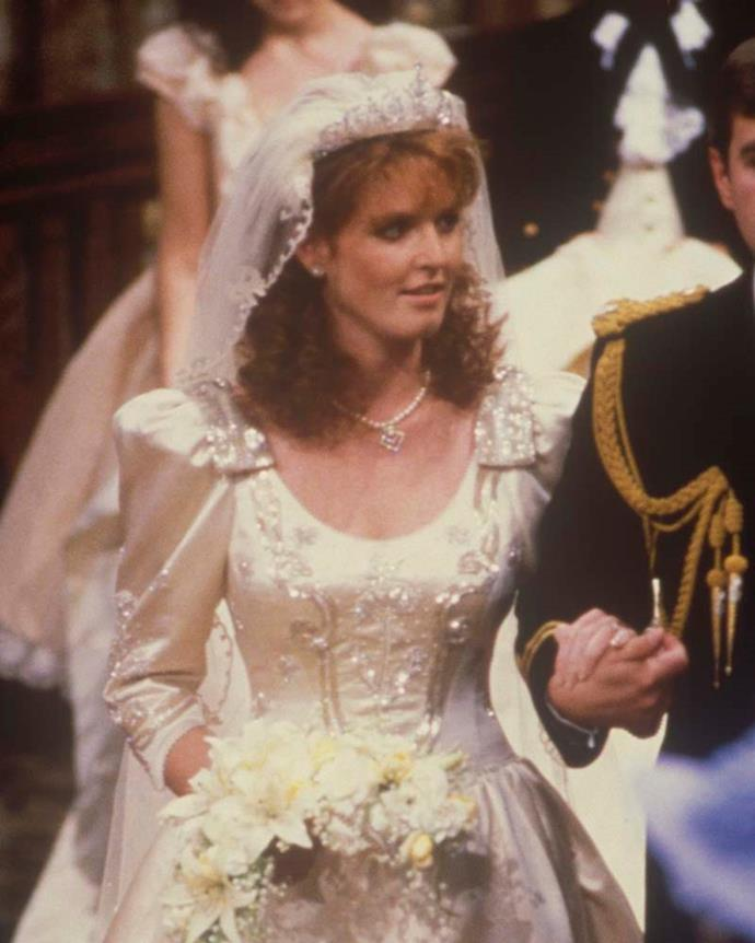 **The name:** The York Diamond Tiara.<br><br> **The wearer:** Sarah, Duchess of York.<br><br> **The history:** When Sarah Ferguson married Prince Andrew in the '90s, she got more than a princely husband; she also got a brand new tiara. The royal family had this tiara made by Garrard for the bride.
