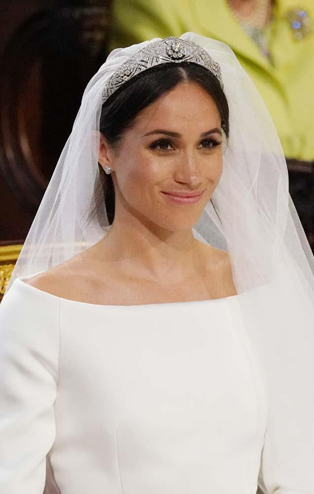 **The name:** Queen Mary's Diamond Bandeau Tiara.<br><br> **The wearer:** Meghan, Duchess of Sussex.<br><br> **The history:** When Meghan Markle wed Prince Harry in 2018, she wore the simple arced, Diamond Bandeau Tiara. Created by Queen Mary of Teck, the piece has 11 flexible sections set around the centre diamond, which was originally a brooch.
