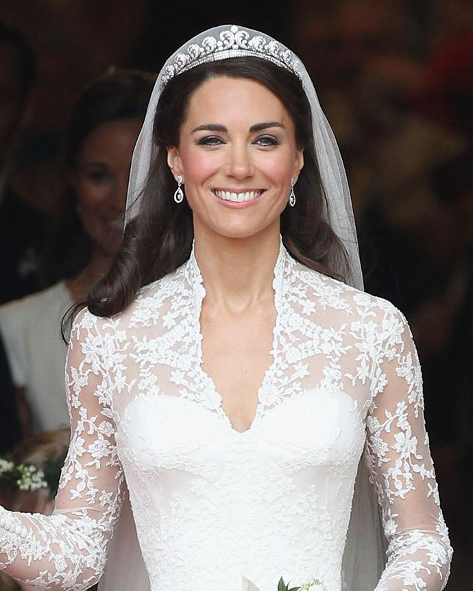 "**The name:** The Cartier Halo Tiara.<br><br> **The wearer:** Catherine, Duchess of Cambridge. <br><br> **The history:** Originally created in 1936 by Cartier, this delicate tiara incorporates diamond 'scrolls' set on a flexible band. It was worn by Catherine ""Kate"" Middleton on her wedding day in 2011."