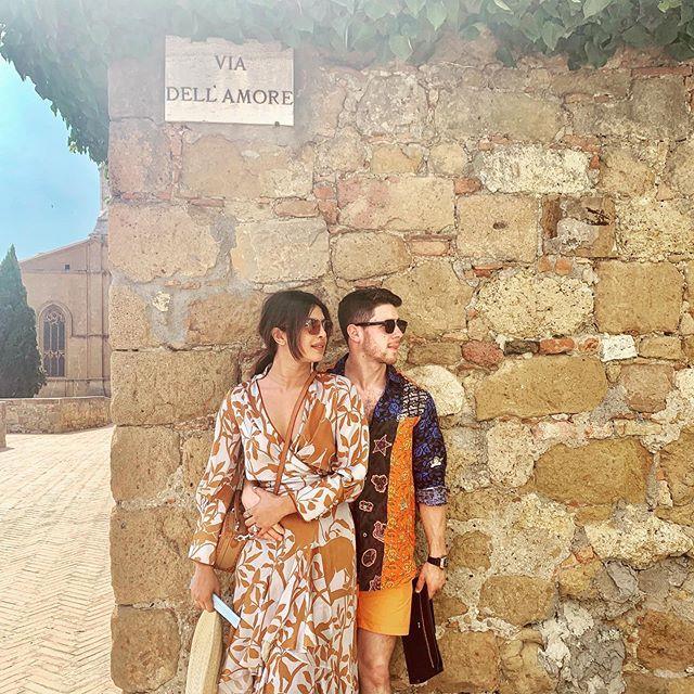 "Priyanka Chopra and Nick Jonas in Tuscany, Italy. <br><br> *Image: Instagram [@nickjonas](https://www.instagram.com/p/BzgT7DUnNXC/|target=""_blank""|rel=""nofollow"")*"
