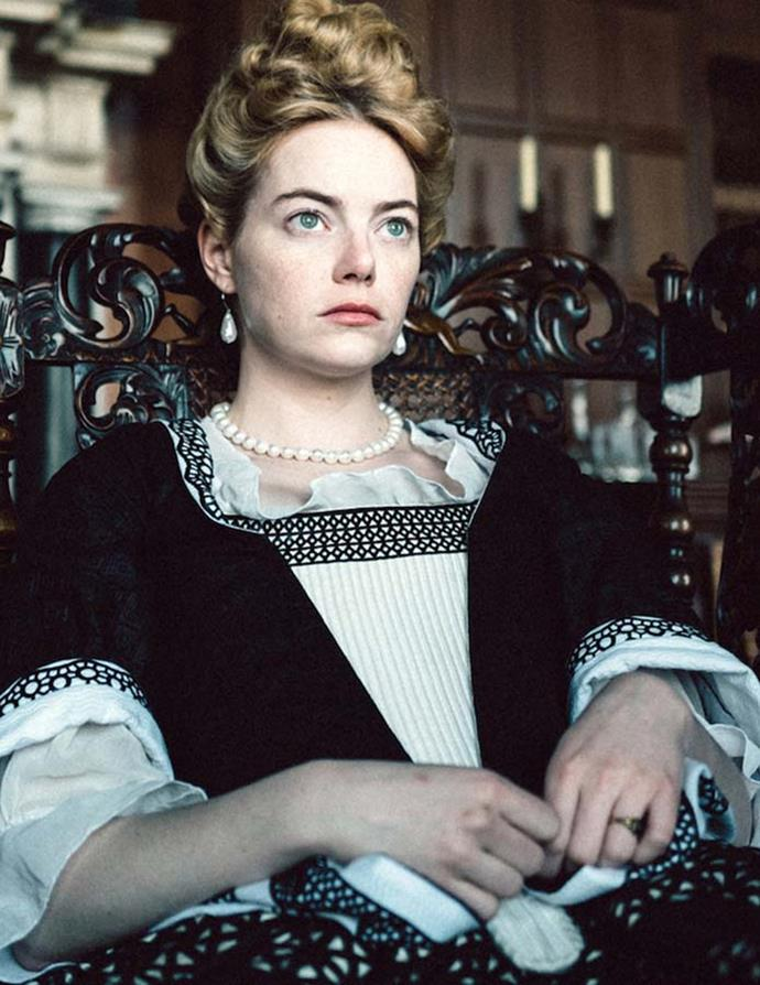 "*Emma Stone's historical accuracy*<br><br> There are bumps and bruises, and then there is organ-shifting. Yikes. Emma Stone told Graham Norton that the ultra-tight corset she wore for *The Favourite* ended up leaving a lasting effect on her. <br><br> ""For the first month, I couldn't breathe, and I would smell menthol and it would make me think I was in a wide-open space and could breathe for a moment in time. After a month, all my organs shifted—it was gross, and if you don't have to, don't do it!"""