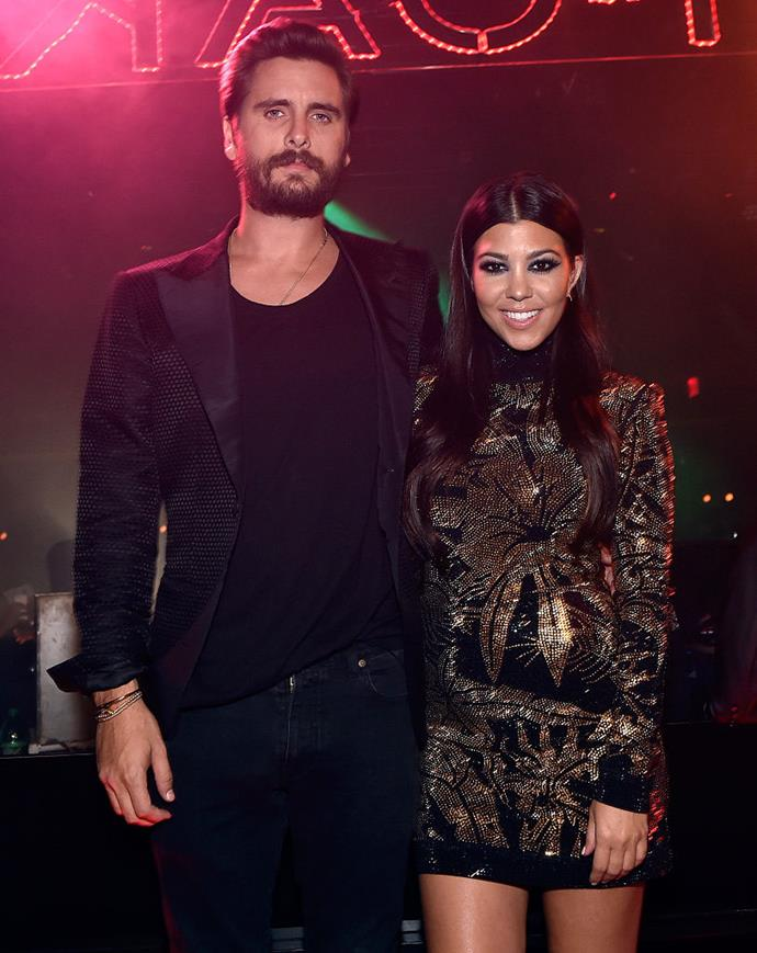"**Kourtney Kardashian and Scott Disick** <br><br> Kardashian and Disick were known for their off-and-on relationship, which appeared on *Keeping Up With The Kardashians* and its various spin-offs. Following their split, Disick began dating model Sofia Richie, while Kardashian enjoyed a high-profile relationship with model [Younes Bendjima](https://www.harpersbazaar.com.au/celebrity/kourtney-kardashian-younes-bendjima-breakup-reaction-17164|target=""_blank""). They also have three children, Mason (born 2009), Penelope (born 2012), and Reign (born 2014). <br><br> *Image: Getty*"