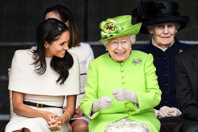 Queen Elizabeth II with Meghan Markle, the Duchess of Sussex on June 14, 2019.
