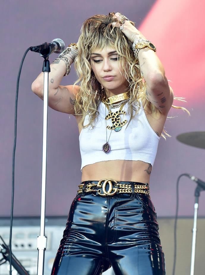 **EXERCISE: Incidental activity** <br><br> When she's not actively working out, Cyrus still manages to incorporate fitness into her day by hiking in Los Angeles, walking her seven dogs or dancing up a storm at her concerts.  <br><br> *Image: Getty*