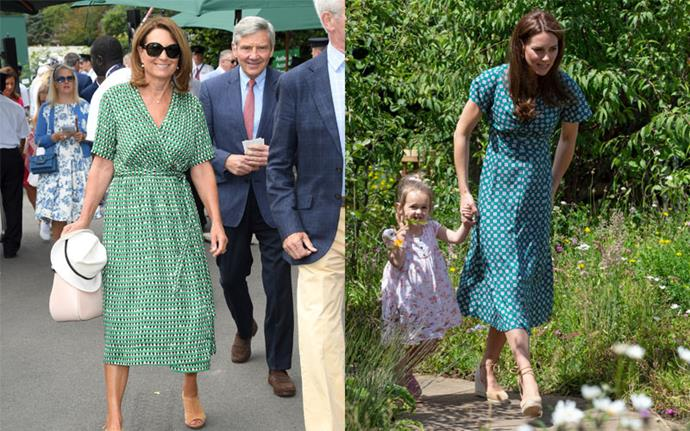 **Matching green wrap dresses** <br><br> Carole at Wimbledon in July 2019, Kate at Hampton Court Palace in July 2019.