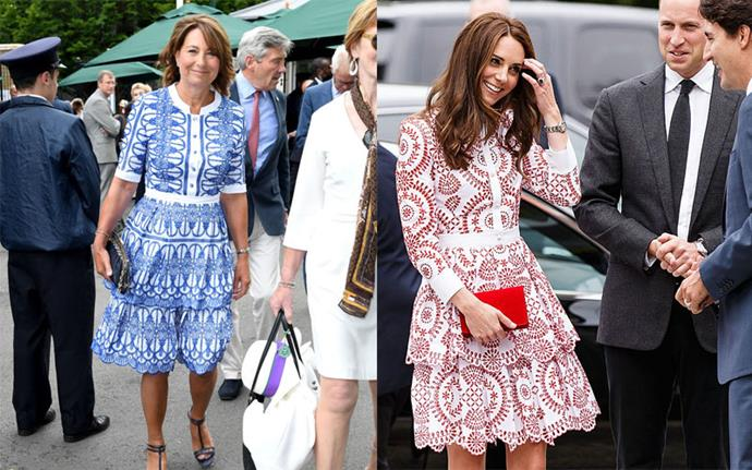 **Matching Alexander McQueen dresses** <br><br> Carole at Wimbledon in July 2017, Kate in Canada in September 2016.