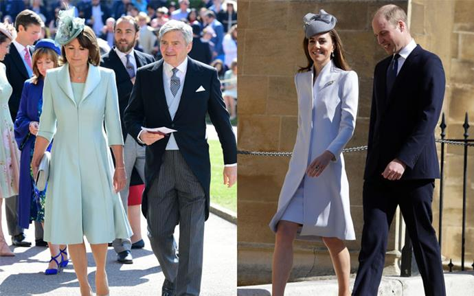 ***Matching blue streamlined coat-dresses*** <br><br> Carole at Prince Harry and Meghan Markle's wedding in May 2018, Kate at Easter Service in April 2019.